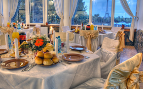 restaurante, tabla, vajilla, comida