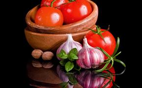 tabla, tomates, ajo
