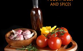 table, tomatoes, garlic
