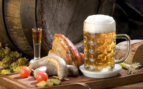 jarra, cerveza, espuma, aperitivo