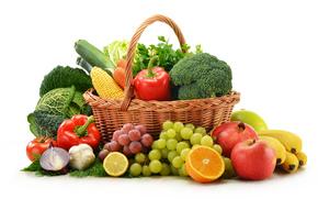 vegetables, fruit, basket