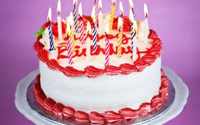 торт, свечи, еда
