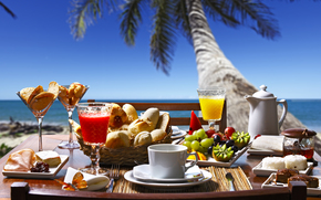 sea, palm, table, food, drinks
