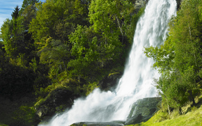 waterfall, waterfalls, nature, landscape, summer, trees