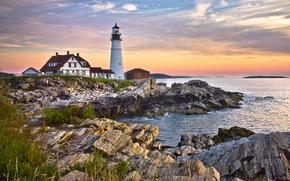 Portland Head Light, Cape Elizabeth, Maine, latarnia morska, Gulf of Maine, wybrzeże, zachód słońca, krajobraz