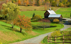 campo, Hills, carretera, casa, otoño, paisaje