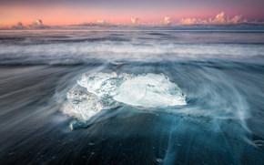 Исландия, лёд, море, берег