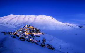 inverno, Castelluccio, inverno, Montagne, paesaggio