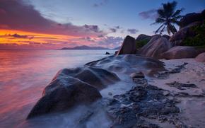 Seychelles, tramonto, mare, puntellare, paesaggio