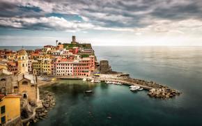 Vernazza, Cinque Terre, Liguria, Italia, Mar de Liguria, Vernazza, Cinque Terre, Liguria, Italia, Mar de Liguria, mar, costa, puesta del sol, Montañas, edificio