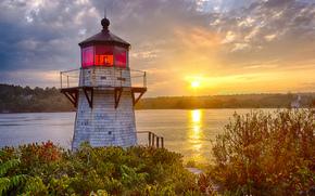 puesta del sol, Ardilla Poin, Río Kennebec, Maine, puesta del sol, faro, otoño, río, paisaje