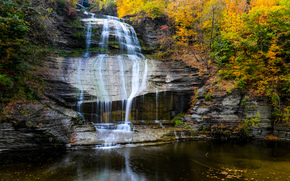 Montour Falls, New York, Finger Lakes region, лес, река, скалы, осень, водопад, природа