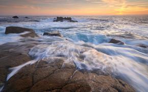日没, 海, 岸, 岩, 風景