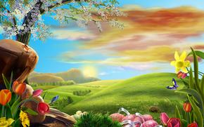поле, холмы, дерево, цветы, art