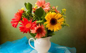 Flowers, still life, vase, flora
