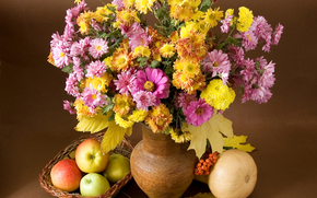 Flowers, still life, vase, apples, flora