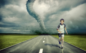 Tornado, road, guy, art