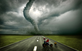 Tornado, road, bike, art