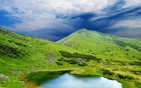 campo, Hills, lago