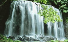 waterfall, waterfalls, water, FLOW, summer, landscape, nature