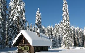 invierno, nieve, derivas, casa, paisaje