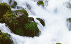 waterfall, waterfalls, water, FLOW, nature, stones