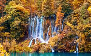 осень, водоём, водопад, деревья, лес, природа