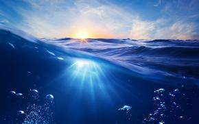 вода, море, волны, солнце