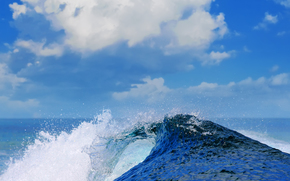 вода, море, волны, облака, небо, брызги