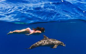 woda, morze, fale, dziewczyna, delfin, Rendering