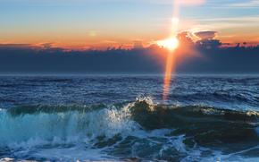 вода, море, волны, облака, небо, солнце