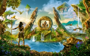 paradise, waterfalls, Parrots, island, lioness, woman-warrior, fantasy