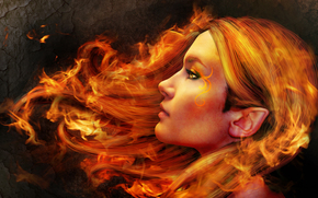 girl, elf, hair on fire