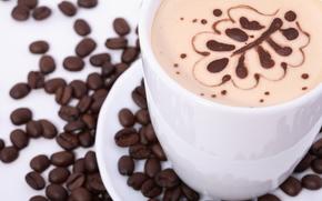 caffè, Singolo Drink, bevande, chicchi di caffè, tazza, pelle, cappuccino