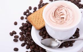 caffè, bere, bevande, chicchi di caffè, tazza, pelle, cappuccino