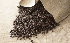 кофе, кофейные зерна, полотно, ткань
