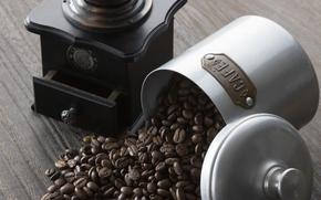 kawa, pić, napoje, młynek do kawy, ziarna kawy