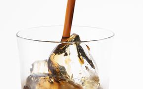 kawa, pić, napoje, szkło, lód