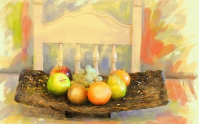 painting, picture, drawing, still life, fruit, table, chair