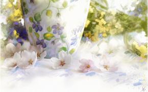 pittura, immagine, disegno, ancora vita, vaso, Fiori