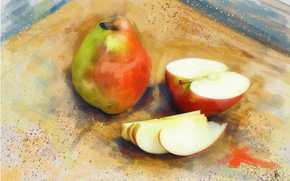 painting, picture, drawing, still life, fruit, pears