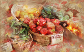 painting, picture, drawing, still life, vegetables, market