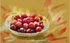 painting, picture, drawing, still life, cherry