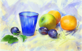 painting, picture, drawing, still life, fruit, glass