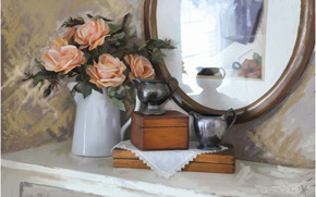 painting, picture, drawing, still life, Roses, Flowers, mirror