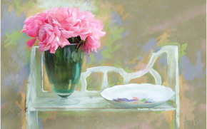 painting, picture, drawing, still life, Roses, Flowers