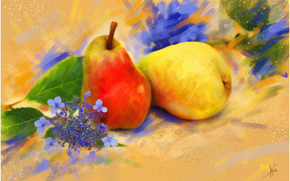 painting, picture, drawing, still life, pears, fruit