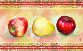 painting, picture, drawing, still life, apples, pears, pattern