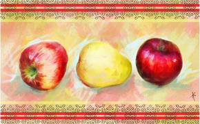 pittura, immagine, disegno, ancora vita, mele, pere, modello