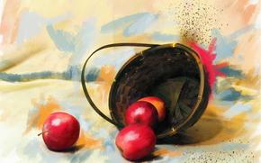 живопись, картина, рисунок, натюрморт, яблоки, корзина